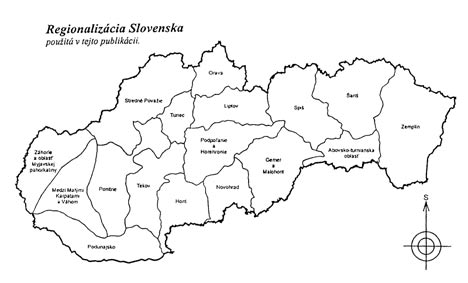 Map of Slovak Regions - Preview of the book Tradicna kultura regionov Slovenska