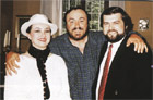 Peter Dvorsky and his wife on a visit to Luciano Pavarotti in Modena.