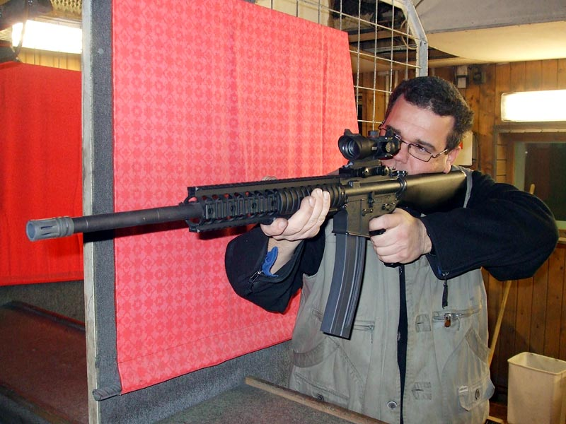 M16 like small bore riffle with a telescope