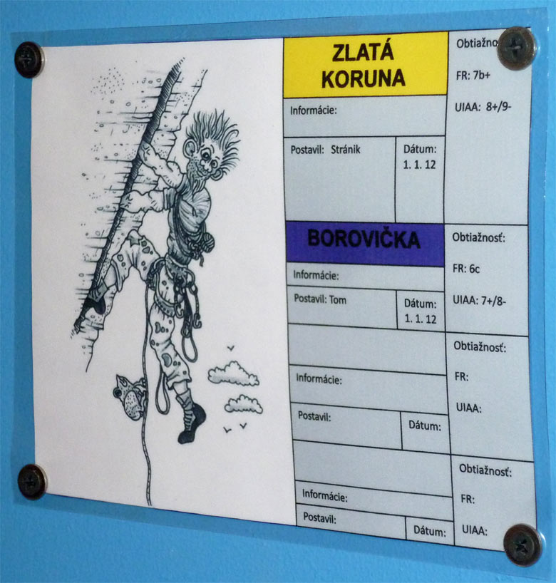 Climbing hall K2 in Bratislava - routes and cartoons
