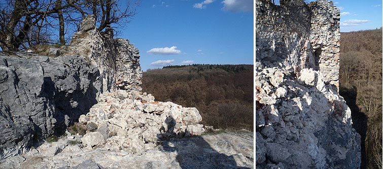 Falling masonry at Pajstun Castle (Male Karpaty)