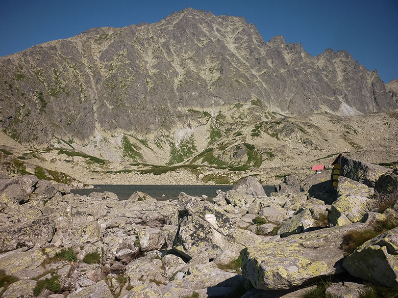 The Tatranska Magistrala pathway.The Batizovske Pleso Tarn and the Koncista Peak.