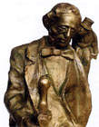 Detail of a sculpture of Hans Christian Andersen by Tibor Bartfay