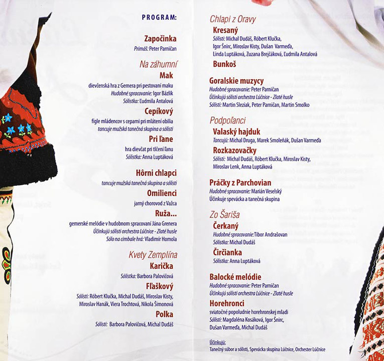 Program of the Youth and Beauty performance by Lucnica ensemble