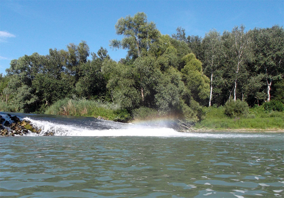 Rainbow weir in the Danube River branches - was cancelled during reconstructions