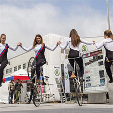 Performance of artistic cycling team ACT 4 Slovakia  in Bratislava