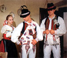From the left: Maid of Honor, Best Man, Groom - a photography from the book Slovak Folk Customs and Traditions