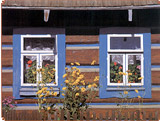 Decorated cottage at the Osturna village. A photography from the book The Folk Treasure of Slovakia.