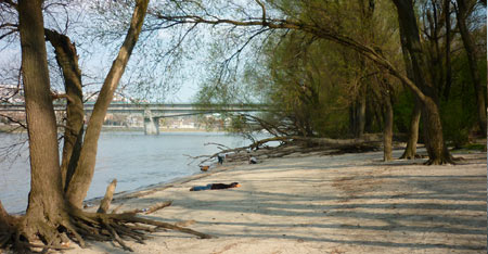 Beaches in Bratislava nearby the Lafranconi Bridge