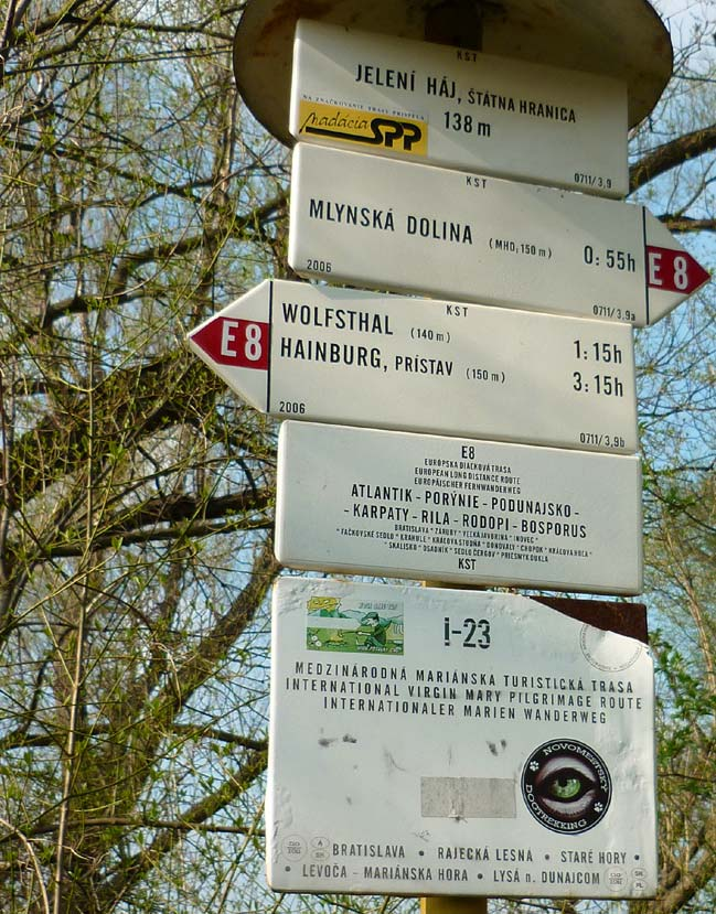 Tourists trails sign at the Slovak-Austrian border near the Danube River