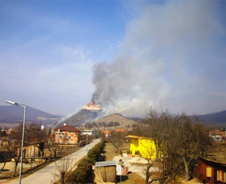 The Krasna Horka Castle on fire - March 10, 2012