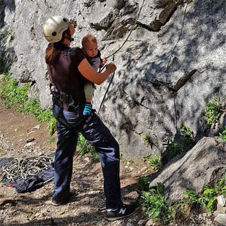 Passionate climbing - Oh no - belaying with a baby