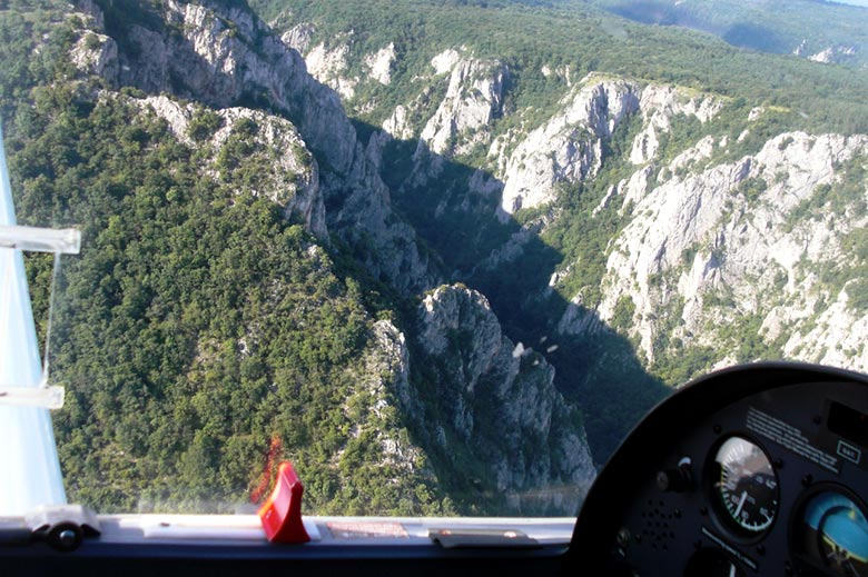 Airplane trip along The Zadielska Tiesnava Gorge and The Turniansky Hrad Castle