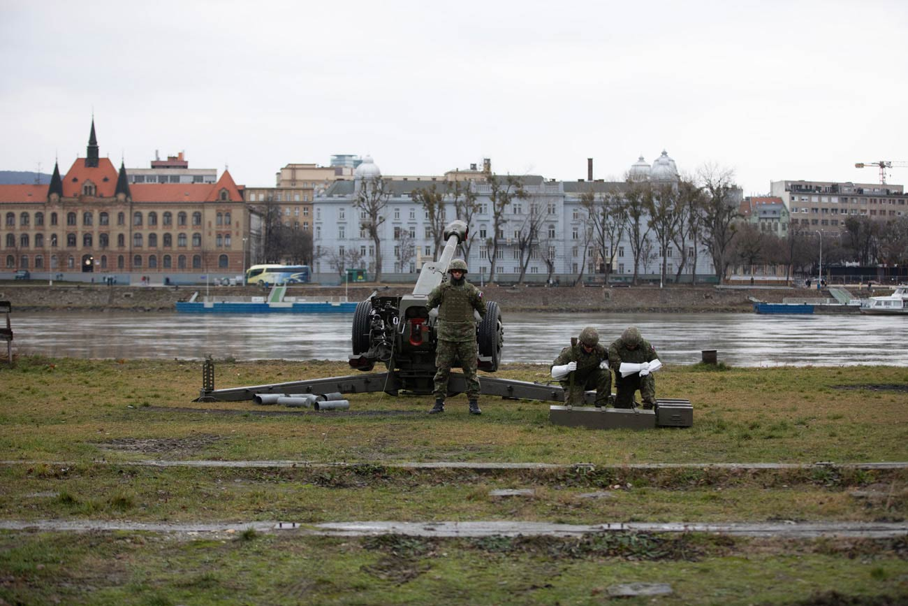 Artillery on the Danube riverbank, Bratislava